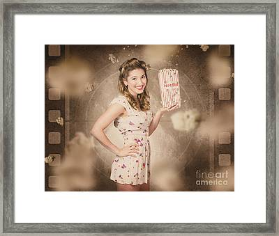 Film And Cinema Pin-up Woman In Old Classic Movie Framed Print by Jorgo Photography - Wall Art Gallery