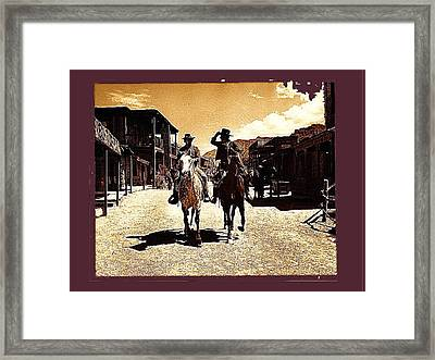 Film Homage Mark Slade Cameron Mitchell Riding Horses The High Chaparral Old Tucson Az C.1967-2013 Framed Print by David Lee Guss