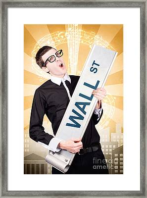 Finance Man Rocking Wall Street Stock Market Framed Print