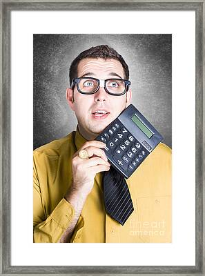 Finance Office Worker Thinking With Big Calculator Framed Print by Jorgo Photography - Wall Art Gallery
