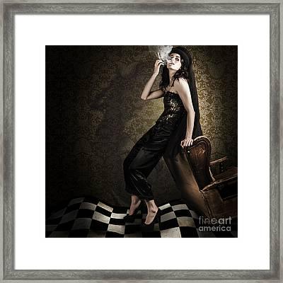 Fine Art Grunge Fashion Portrait In Dark Interior Framed Print by Jorgo Photography - Wall Art Gallery