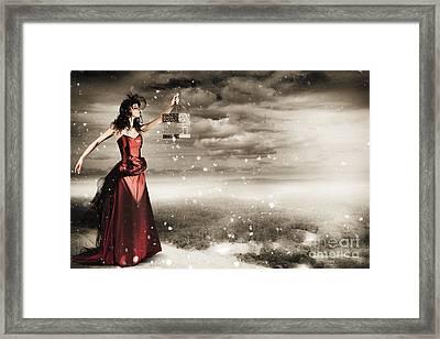 Fine Art Photo Of A Beautiful Winter Fashion Woman Framed Print by Jorgo Photography - Wall Art Gallery