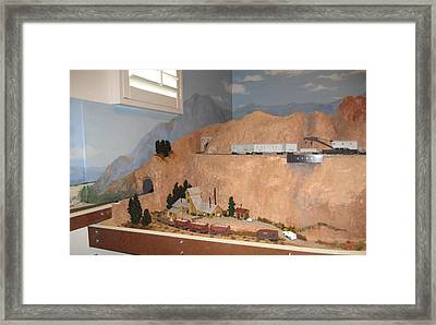 Finished Train Room With Mural Backdrop Framed Print by Maria Hunt