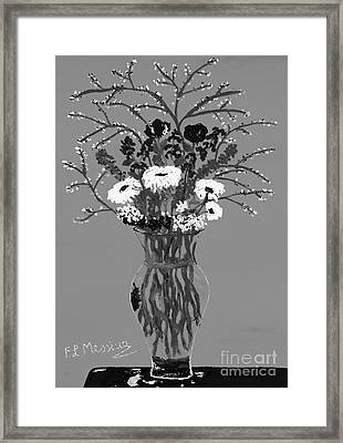 Fiori-black And White Framed Print by Loredana Messina