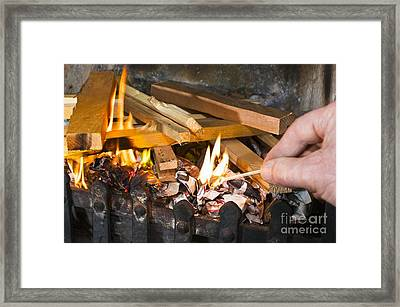 Fire Being Lit Framed Print by Martyn F. Chillmaid