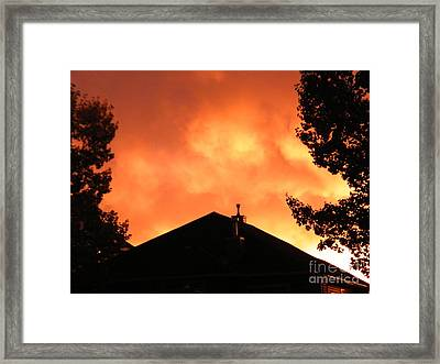 Framed Print featuring the photograph Fire In The Sky by Ann E Robson