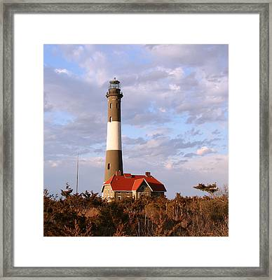 Framed Print featuring the photograph Fire Island Lighthouse by Karen Silvestri