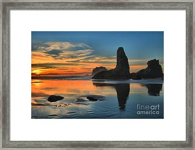 Fire Over The Sea Stacks Framed Print by Adam Jewell