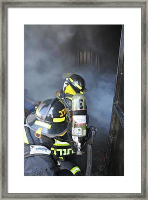Firefighters With Protective Equipment Framed Print by Photostock-israel