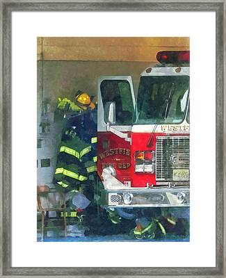 Firemen - Inside The Fire Station Framed Print by Susan Savad