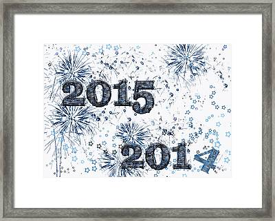 Fireworks And Stars Happy New Year 2015 Framed Print by Marianne Campolongo