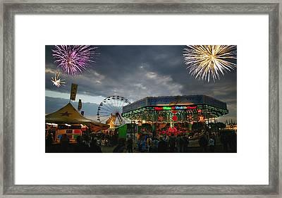 Fireworks At An Amusement Park Framed Print by Darren Greenwood