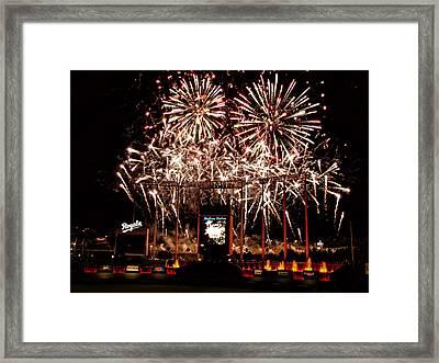 Fireworks At Kauffman Stadium Framed Print by Alan Hutchins