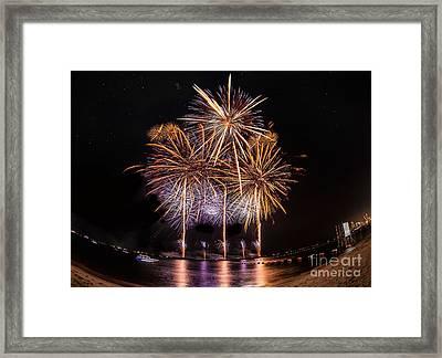Fireworks At Pattaya Beach Framed Print by Anek Suwannaphoom