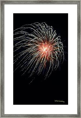 Framed Print featuring the photograph Fireworks At St Albans Bay by R B Harper