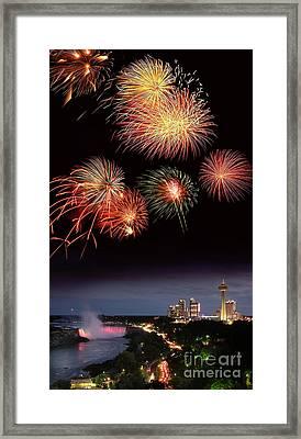 Fireworks Display Over Niagara Falls Framed Print by Tony Craddock