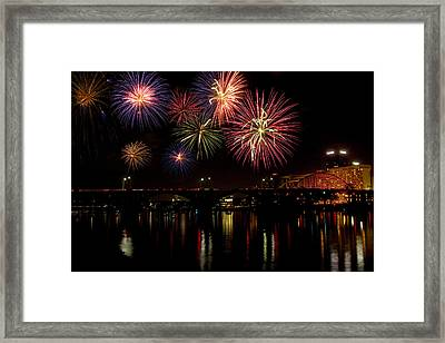 Fireworks Over The Broadway Bridge Framed Print by Robert Camp