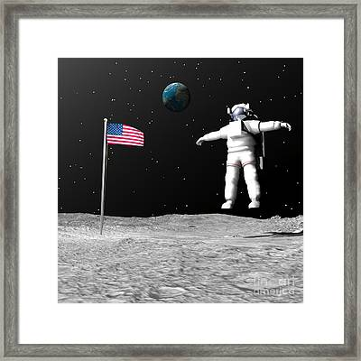 First Astronaut On The Moon Floating Framed Print by Elena Duvernay