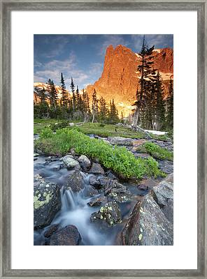 First Light On Long S Peak At Chasm Framed Print