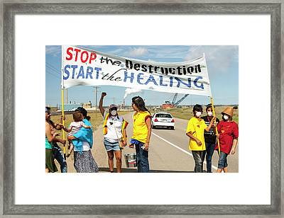 First Nation Protest The Tar Sands Framed Print