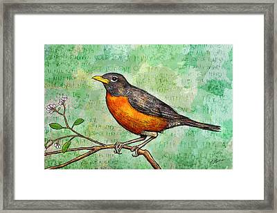 First Robin Of Spring Framed Print by Gary Bodnar
