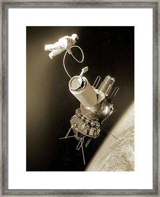 First Space Walk Framed Print by Detlev Van Ravenswaay