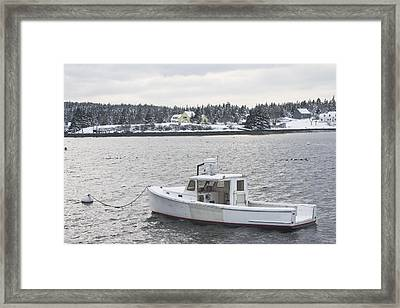Fishing Boat After Snowstorm In Port Clyde Harbor Maine Framed Print