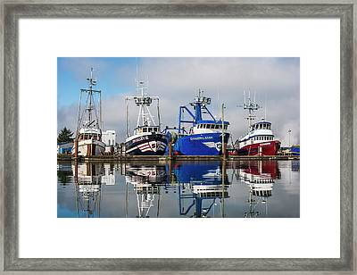 Fishing Boats Moored At The Dock Framed Print by Robert L. Potts