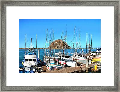Fishing Fleet In Front Of Morro Rock Digital Painting Framed Print by Barbara Snyder