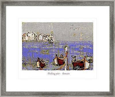 Framed Print featuring the painting Fishing Pier by Pemaro