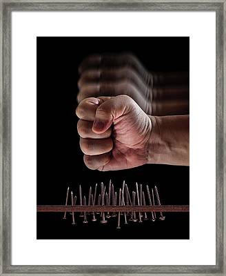 Fist Hitting Nails And Screws Framed Print by Ktsdesign