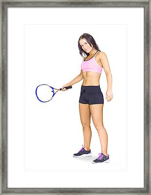 Fit Active Female Sports Person Playing Tennis Framed Print