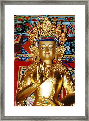 Framed Print featuring the photograph Five Dhyani Buddhas by Lanjee Chee