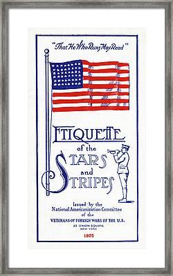 Flag Etiquette, 1925 Framed Print