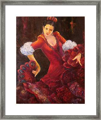 Flamenco Dancer With A Fan Framed Print