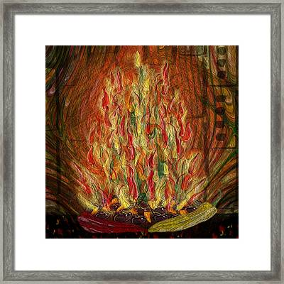 Flaming Peppers Framed Print