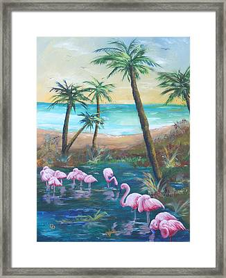 Flamingo Beach Framed Print by Gail Daley