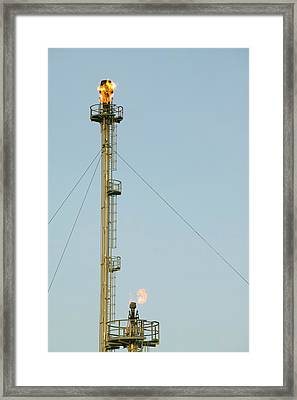 Flare Off From A Petrochemical Works Framed Print by Ashley Cooper