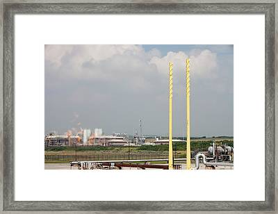 Flaring Off Gas At A Gas Processing Plant Framed Print