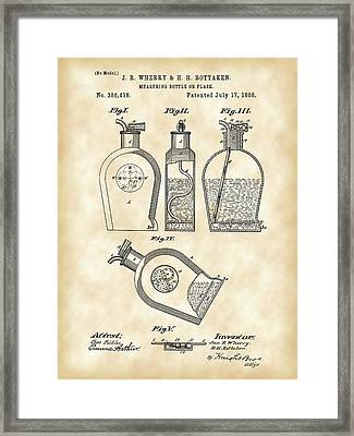 Flask Patent 1888 - Vintage Framed Print by Stephen Younts