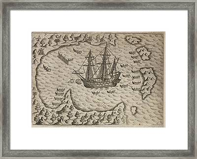 Fleet Of Sailing Ships In A Sheltered Bay Framed Print by British Library