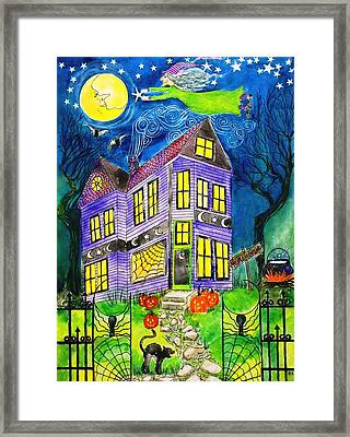 Flight Of The Moon Witch On Hallows Eve Framed Print by Janet Immordino