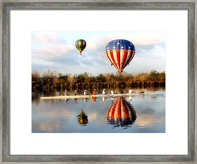 Floating And Rowing Framed Print by James Stough