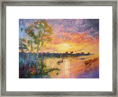 Flooded Sunset Framed Print by Marie Green