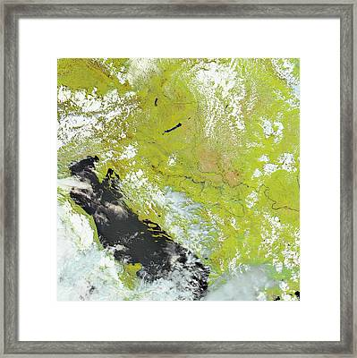 Flooding In The Balkans Framed Print by Nasa Earth Observatory