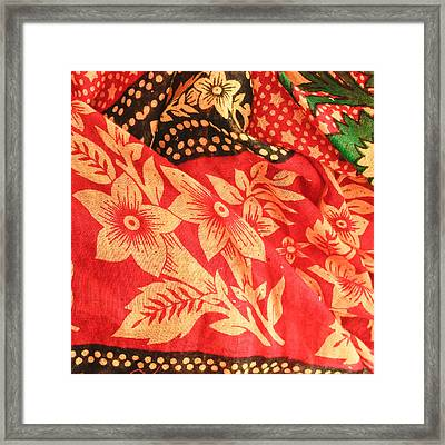 Floral Fabric Framed Print by Tom Gowanlock