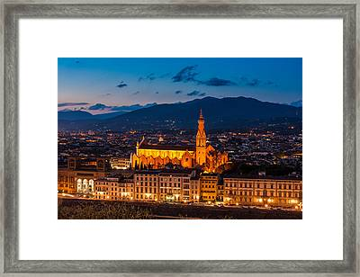 Florence City At Night Framed Print by Gurgen Bakhshetsyan