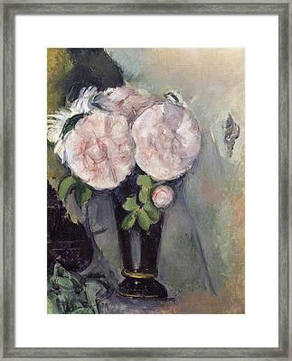 Flowers In A Blue Vase Framed Print by Paul Cezanne