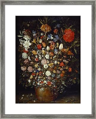 Flowers In A Wooden Vessel Framed Print