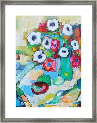 Flowers In Green Vase Framed Print by Becky Kim